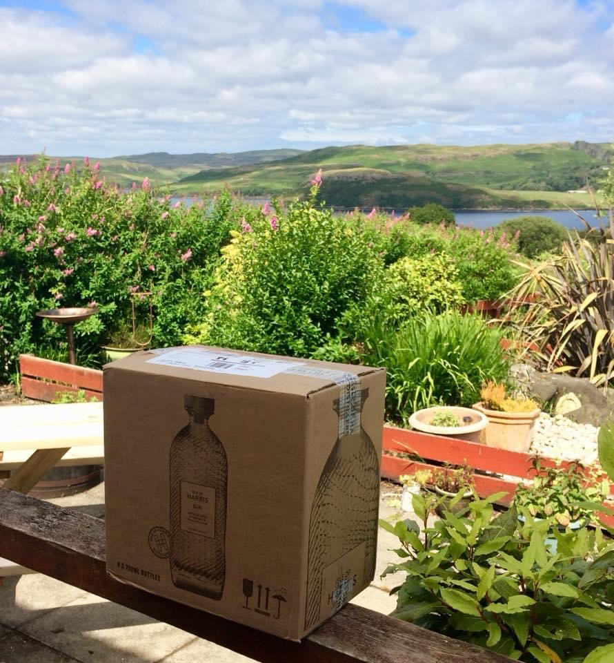 Harris Gin box and view of Loch Harport