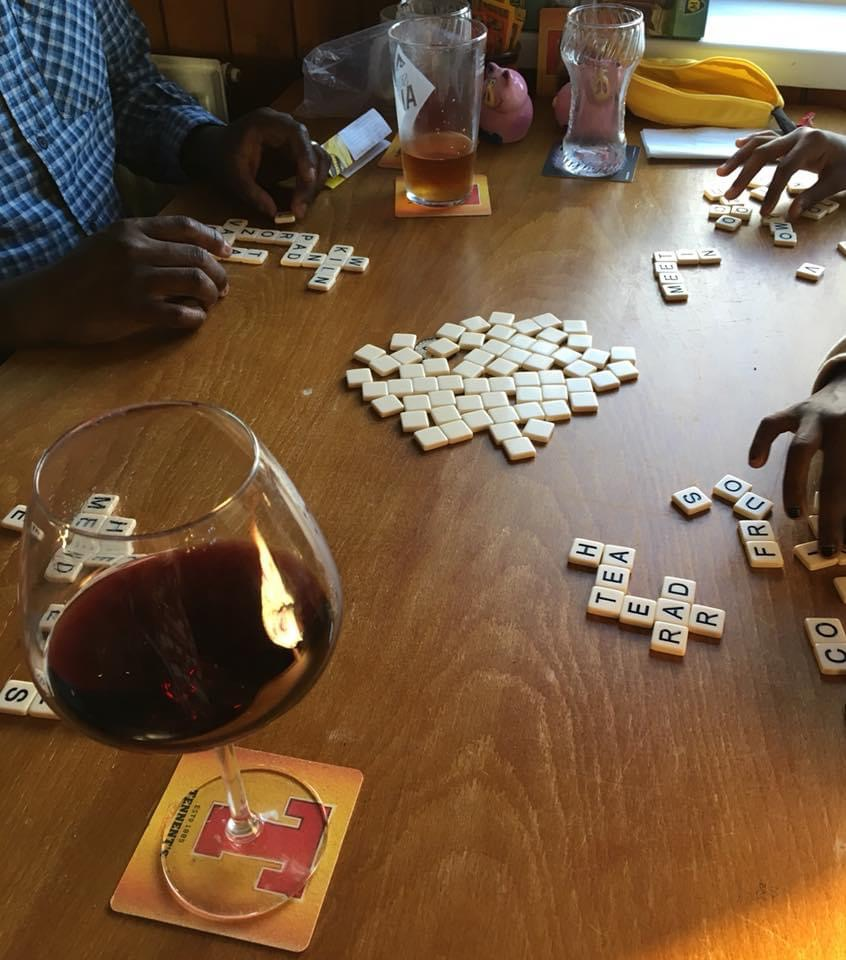 bananagram bar games and red wine