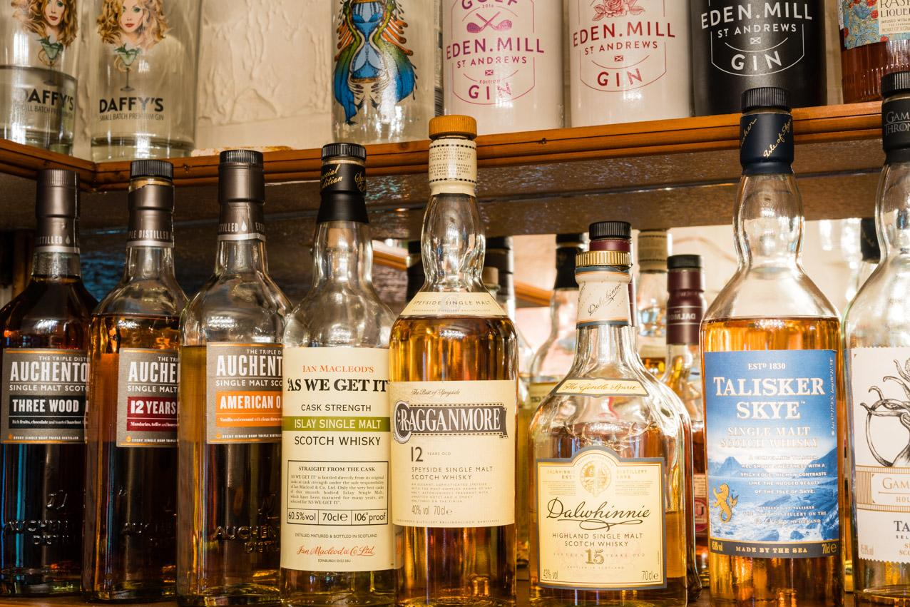excellent selection of malt whisky